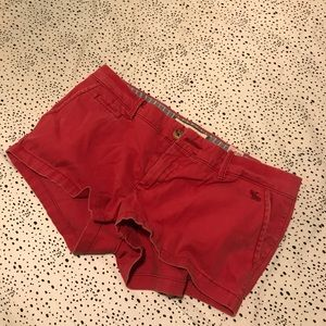 Red Abercrombie shorts.